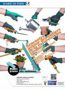 Affiche rencontre métiers jardin Espaces Hérold AJ Solidarité