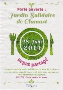 Repas partagé Jardin solidaire de Clamart 28 juin 2014